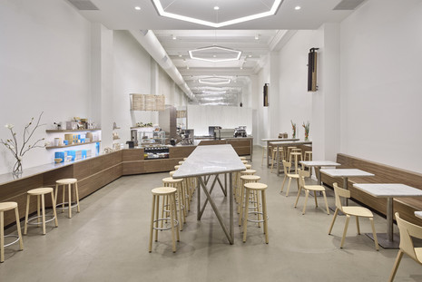 Blue Bottle Gramercy Park Cafe - REMO wood chair, BLOCCO stool