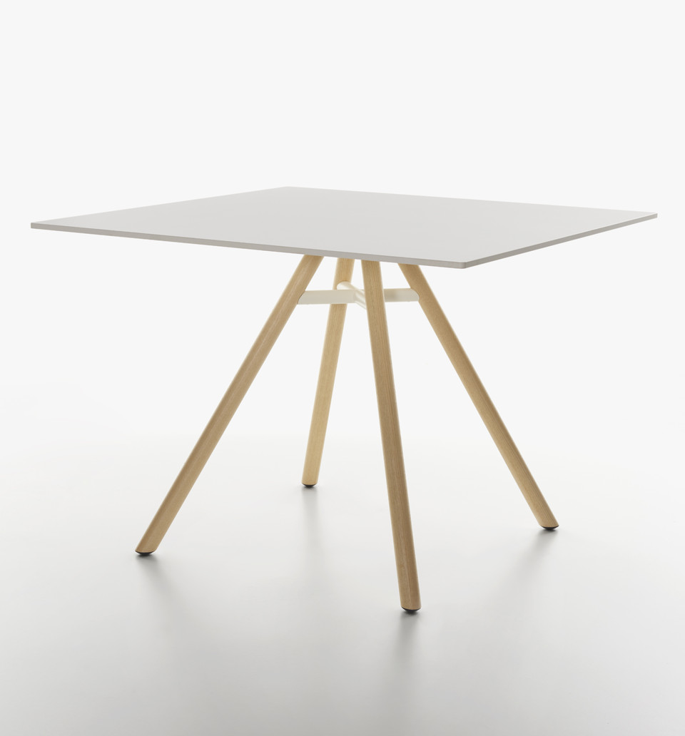 Plank - MART table, square table, natural ash legs, white HPL top