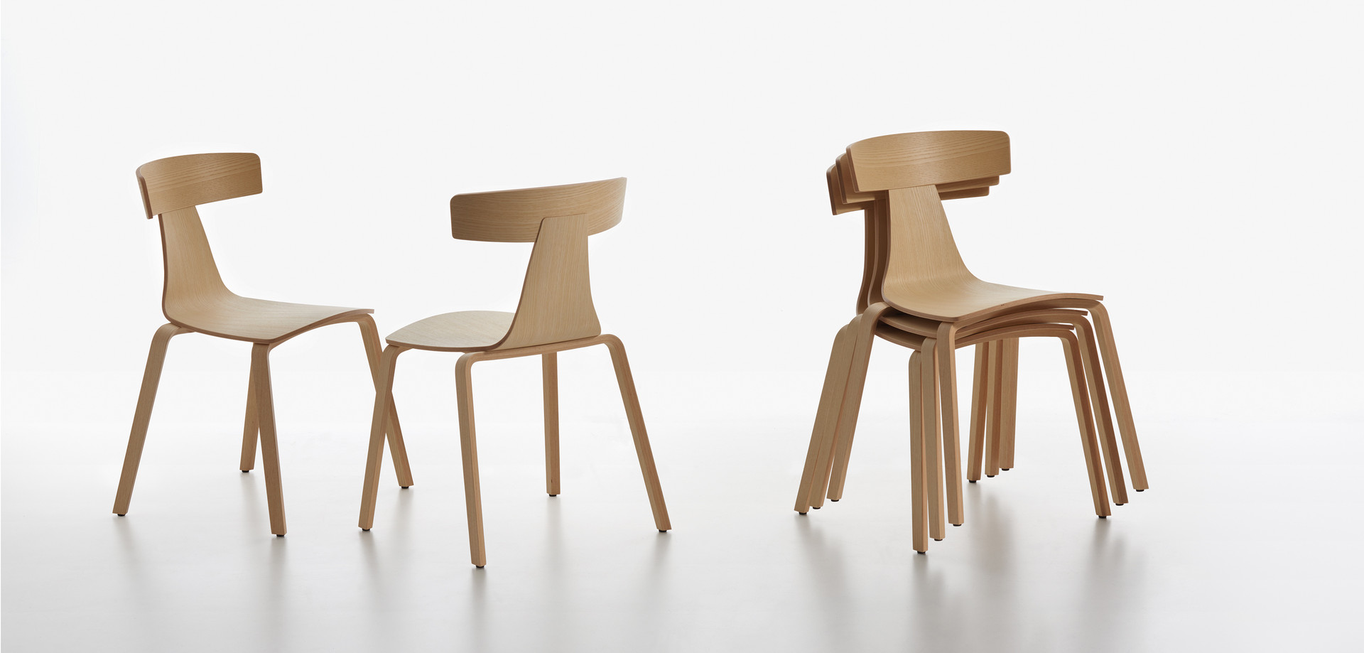 Plank - REMO wood chair, natural finished ash, stackable and not stackable.