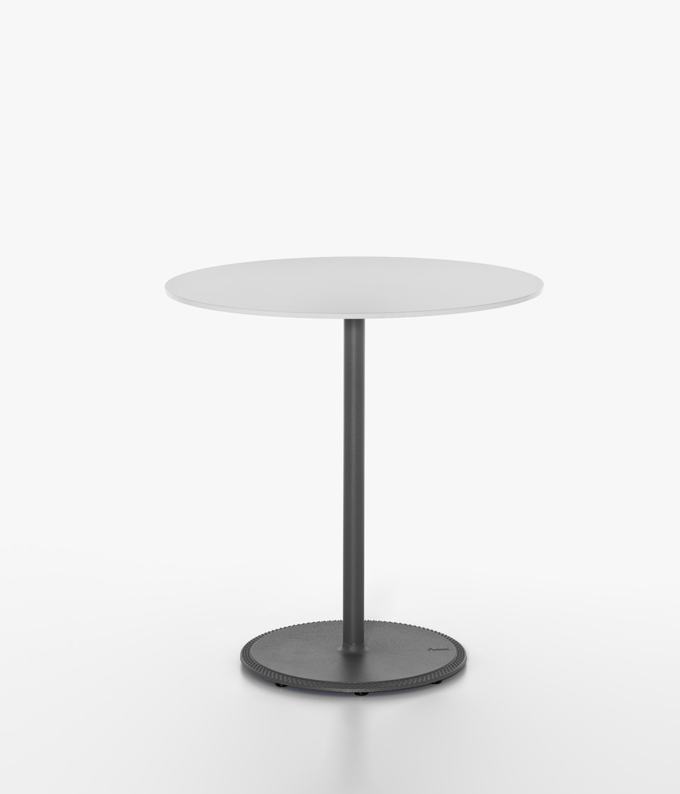 Plank - BON table, grey aluminum table base, white HPL table top